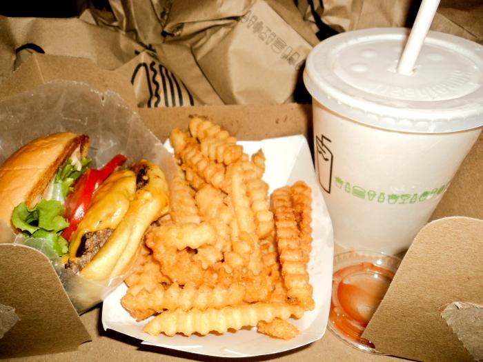 Burger and fries at the Shake Shack, New York City