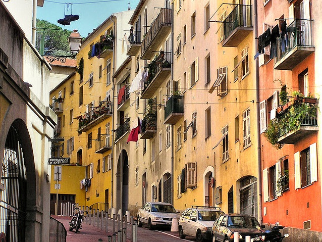 Street and colourful buildings in Nice, France