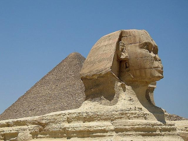 Sphinx and Pyramid in Cairo, Egypt